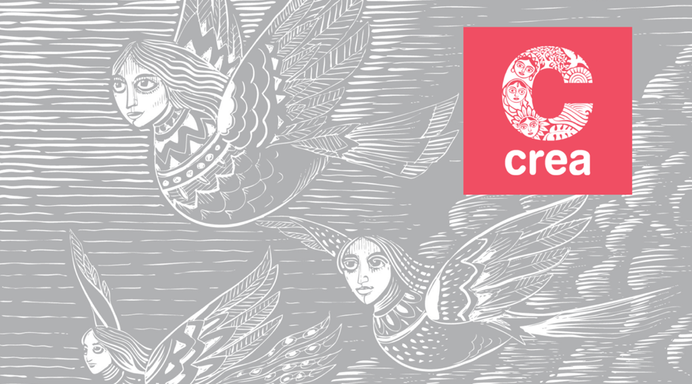 A grey and white woodcut illustration of three figures with heads of women and bird bodies, flying through the air, with the CREA logo in a pink square in the upper right